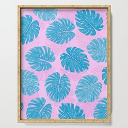 Pink Blue Hand Painted Swiss Cheese Plant Leaves Serving Tray