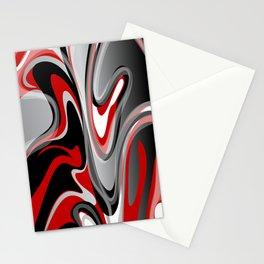 Liquify 2 - Narrow Red, Gray, Black, White Stationery Cards