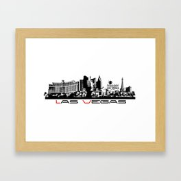 Las Vegas skyline black Framed Art Print