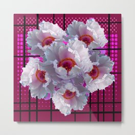 MODERN WHITE TREE PEONY FLOWERS  BURGUNDY-BLACK ART Metal Print