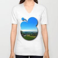 airplanes V-neck T-shirts featuring Condensation trail with some scenery by Patrick Jobst