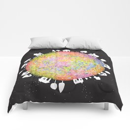 Flower Planet, watercolor painting house Comforters