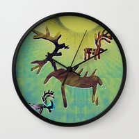 reindeer Wall Clocks featuring reindeer by donphil