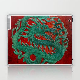 Wooden Jade Dragon Carving on Red Background Laptop & iPad Skin