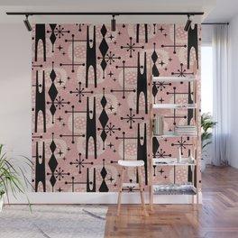 Retro Atomic Mid Century Pattern 771 Dusty Rose Wall Mural