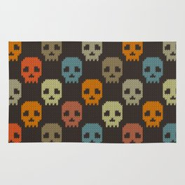 Knitted skull pattern - colorful Rug