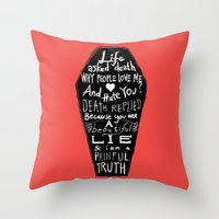 zappa Throw Pillows featuring Life asked death... by Picomodi