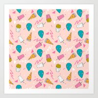 Alien outer space cute aliens french fries rad sodas pattern print pink Art Print