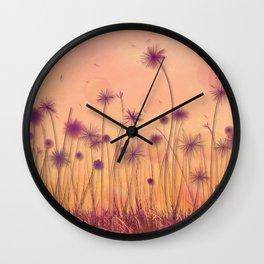 Dreamy Violet Dandelion Flower Garden Wall Clock