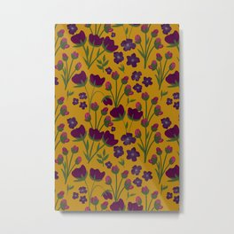 Purple and Gold Floral Seamless Illustration Metal Print