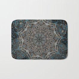 Smoke Swirl Blue Mandala Bath Mat
