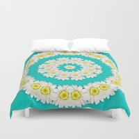 coasters Duvet Covers featuring White Daisies on Turquoise Background by Lena Photo Art
