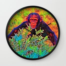 AnimalColor_Chimpanzee_003_by_JAMColors Wall Clock