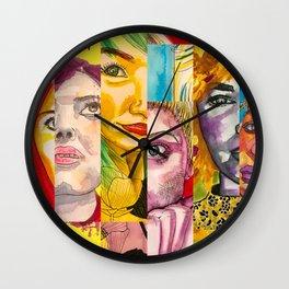 Female Faces Portrait Collage Design 1 Wall Clock