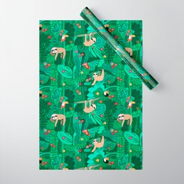 Sloths in the Emerald Jungle Pattern Wrapping Paper