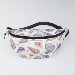 Summer pink lilac watercolor polka dots sea shells Fanny Pack