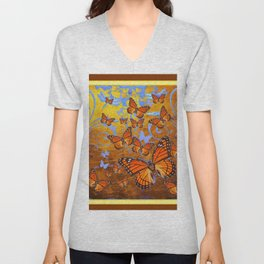 Caramel Color Monarch Butterflies Butterflies  Fantasy Abstract Unisex V-Neck