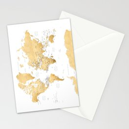 Gold world map with country capitals Stationery Cards