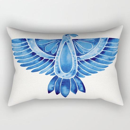 Navy Parrot Rectangular Pillow