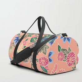 Peacock Floral in Coral Duffle Bag