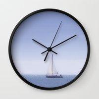 sailing Wall Clocks featuring Sailing by Maria Heyens