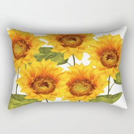 Design Five Sunflower on white Background Rectangular Pillow