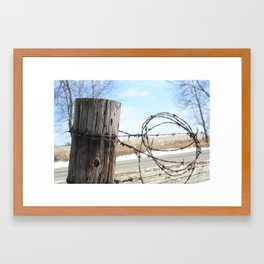 Fence Post and Barbed-Wire Framed Art Print