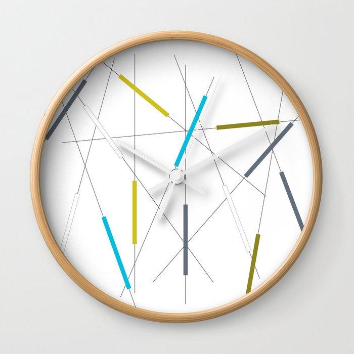 Criss cross blue, green & gray Wall Clock