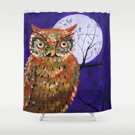 Owl, Owl Painting, Moon, Night Sky, Purple, by Faye Shower Curtain