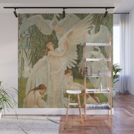 White Swans and the Maidens angelic garden landscape painting by Walter Crane  Wall Mural