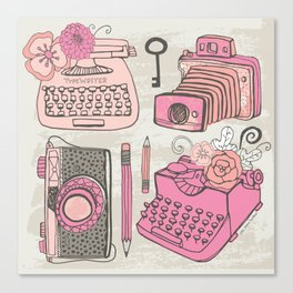 Vintage Cameras & Typewriters Canvas Print