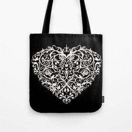 Intricate Heart- Monochrome inversed Tote Bag