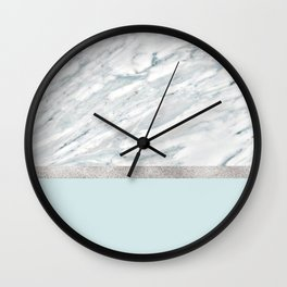 Calacatta verde - silver turquoise Wall Clock