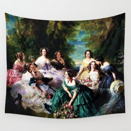 "Franz Xaver Winterhalter's masterpiece ""The Empress Eugenie surrounded by her Ladies in waiting"" Wall Tapestry"