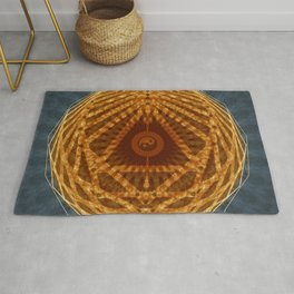 Mandala of Radiant Abundance (grey-gold) Rug