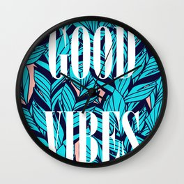 Good Vibes Blue Leaves Wall Clock