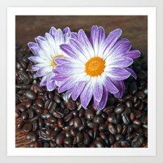 COFFEE & VIOLET DAISY  Art Print