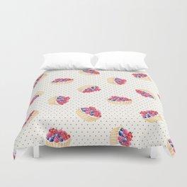 Vintage lavender pink ivory polka dots berries pie pattern Duvet Cover