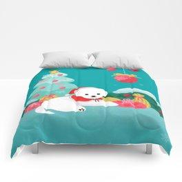 Christmas bichon frise 2 Comforters