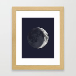 Waxing Crescent Moon on Navy Framed Art Print