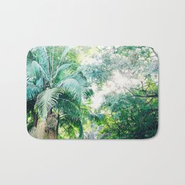 Lost in the jungle bright green tropical palm tree forest photography Bath Mat