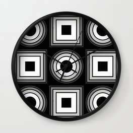 Fade To Black - Abstract, black and white, geometric, 3D effect artwork Wall Clock