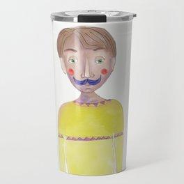 Cartoon Style Man - Mr blue moustasche Travel Mug