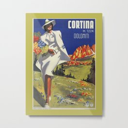 Vintage Italian Alps Cortina summer travel Metal Print