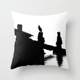 Perched Cormorant. Throw Pillow