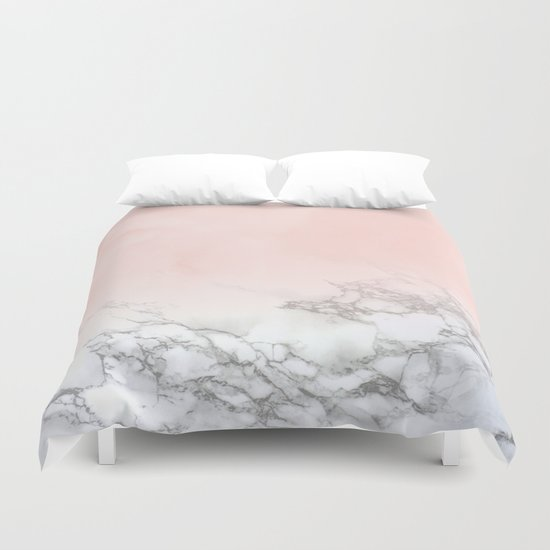 Blush Pink on White and Gray Marble III by naturemagick