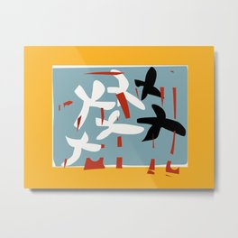 Abstract in yellow and light blue Metal Print