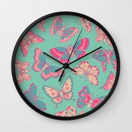 Pink Butterflies on Aqua Wall Clock