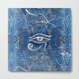 Silver Egyptian Eye of Horus  on blue marble Metal Print
