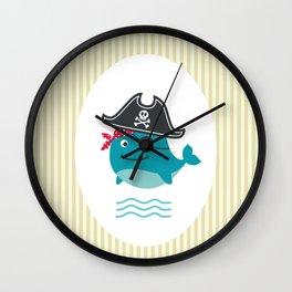Underwater pirates vintage pattern Wall Clock